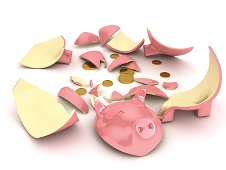 Broken piggy bank over white background