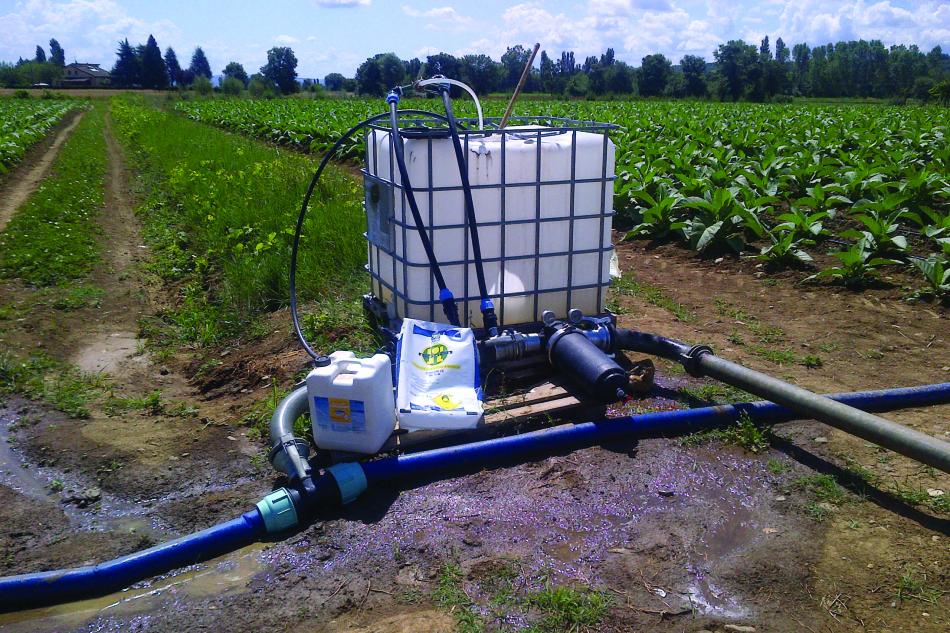 postazione per la distribuzione del fertilizzante NPK