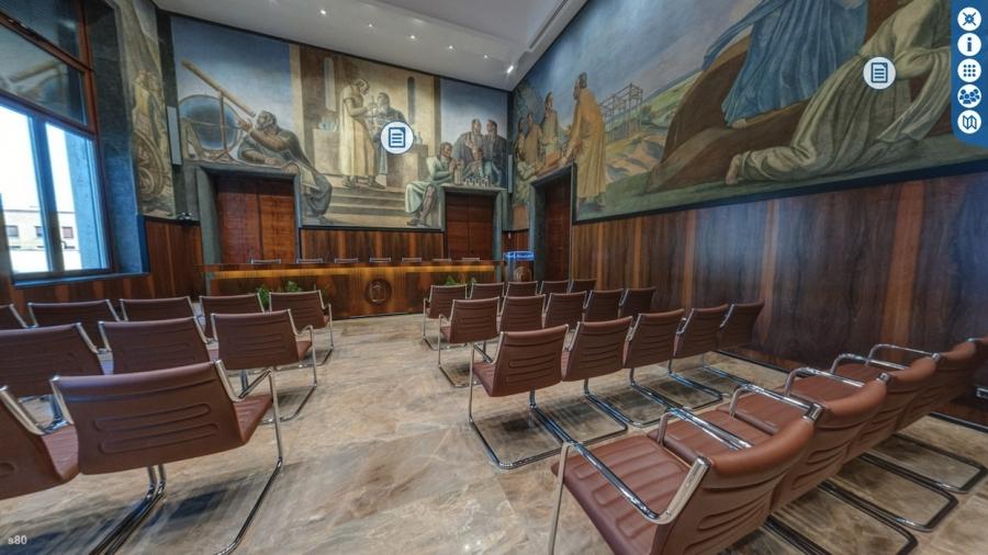 """Gli affreschi dedicati alle scoperte scientifiche """"made in Italy"""" che ricoprono l'aula Marconi del Cnr"""