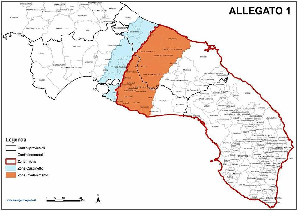 L'attuale geografia delle aree infatta, di cuscinetto e di contenimento potrebbe essere aggiornata verso nord dai monitoraggi in partenza oggi.