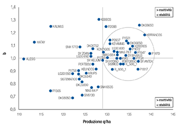 Stabilità e risposta ambientale degli ibridi in prova